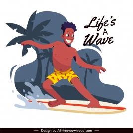 lifestyle banner wave surfing activity sketch cartoon design