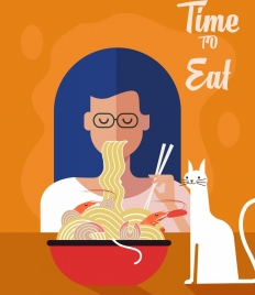 lifestyle banner woman eating noodle icon classical design