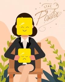 lifestyle banner woman emotional masks icons cartoon design