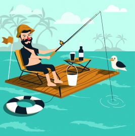 lifestyle drawing fishing man wooden float sea icons