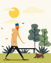lifestyle drawing man pet icons colored cartoon design