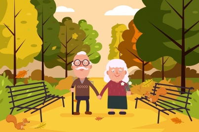 lifestyle drawing old couple park icons colored cartoon