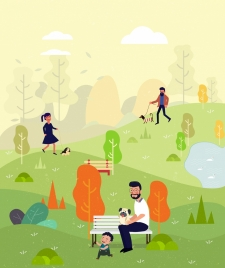 lifestyle drawing park human activities icons cartoon design