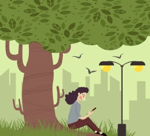 lifestyle drawing relaxed woman tree icons cartoon design