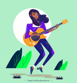 lifestyle icon girl playing guitar sketch cartoon character