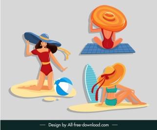 lifestyle icons bikini girls sketch cartoon characters