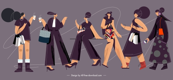 lifestyle icons lady fashion sketch cartoon characters