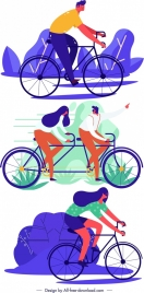 lifestyle icons people riding bicycle cartoon sketch