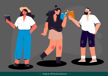 lifestyle icons reading sketch colored cartoon characters