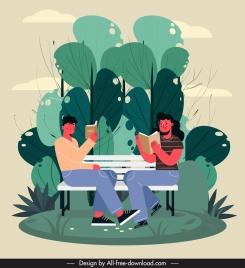 lifestyle painting couple reading book cartoon design