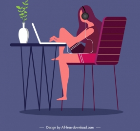 lifestyle painting girl computer icons cartoon character sketch