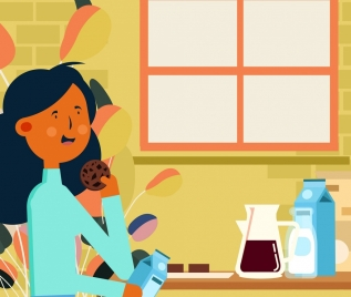 lifestyle painting girl eating breakfast icon cartoon design