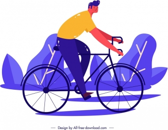 lifestyle painting man riding bicycle classical design