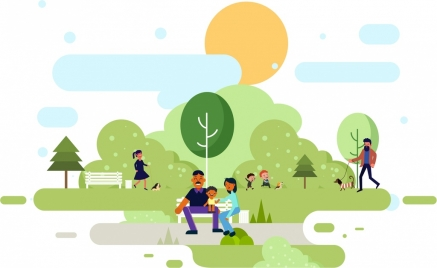 lifestyle painting people park icons colored cartoon design