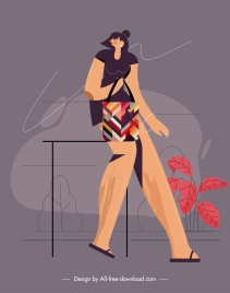 lifestyle painting shopping girl sketch colored flat design