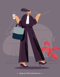 lifestyle painting shopping lady icon cartoon character sketch