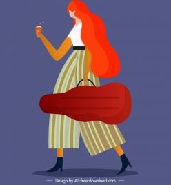 lifestyle painting walking female violinist icon cartoon sketch