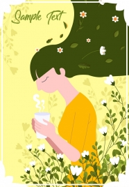 lifestyle painting woman drinking tea flowers icons