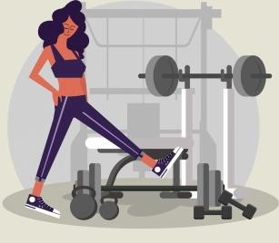 lifestyle painting woman gymnasium icons cartoon design