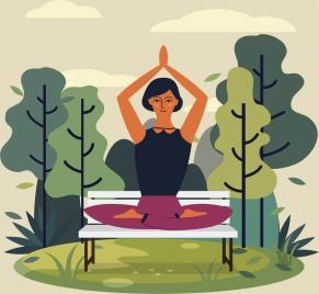 lifestyle painting yoga woman icon cartoon design