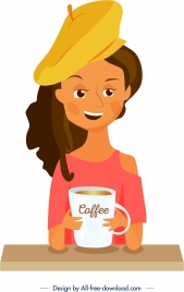 lifestyle painting young woman morning coffee decor