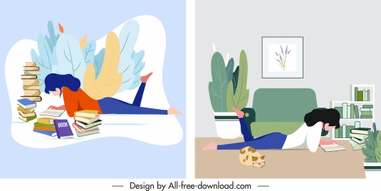 lifestyle paintings woman reading book cartoon sketch