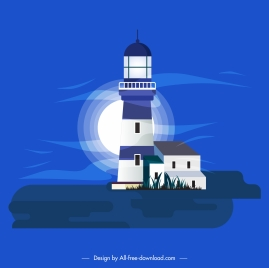 lighthouse painting classical colored dark design moonlight decor
