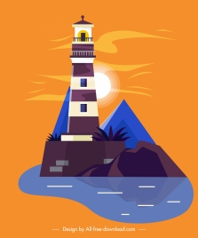 lighthouse painting colorful classical decor flat design