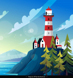 lighthouse scene background colorful bright classic decor