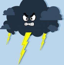 lightning icon stylized style angry emotion design