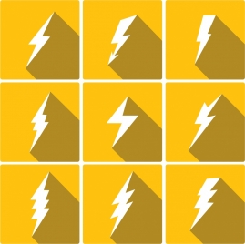lightning icons collection various white shapes isolation