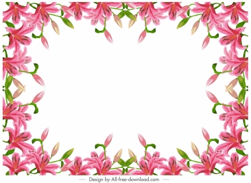 lily border template modern colorful blooming decor