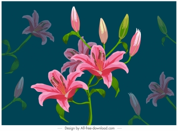 lily floral painting colorful classical handdrawn decor