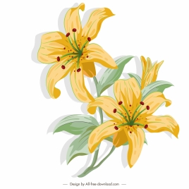 lily flower painting colored retro sketch