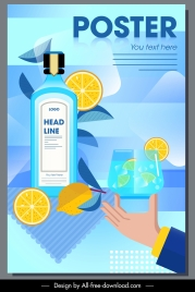 lime beverage advertising poster colorful flat design