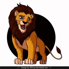 lion icon cute colored cartoon character sketch