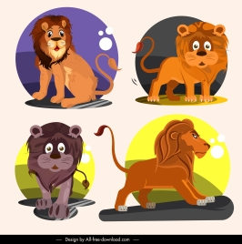 lion icons cartoon characters sketch funny emotion