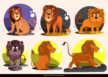 lion icons cute cartoon character sketch
