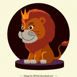 lion king icon cute cartoon design stylized character