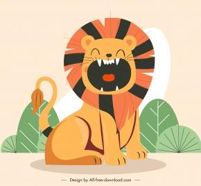 lion paiting funny cartoon sketch classic design