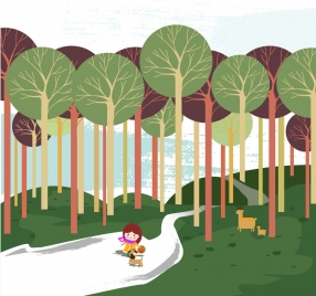 little girl in forest background colored cartoon drawing