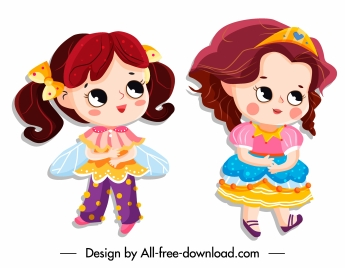 little princess icons cute cartoon characters colorful design