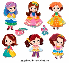 little princess icons cute cartoon characters sketch