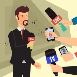 live broadcasting theme reporter icons colored cartoon design
