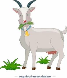 livestock background goat icon colored cartoon design