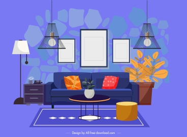 living room decor template colorful contemporary furniture sketch