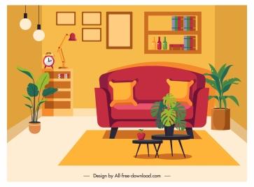 living room decor template cosy classic design