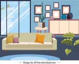 living room decor template elegant contemporary sketch