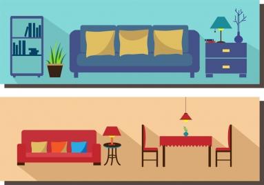 living room furniture scheme sets colored flat design