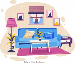 living room template colorful modern sketch